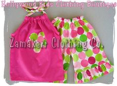 Custom Boutique Clothing Pink Pillowcase Tunic Top Disco Dot Ruffled Pant Outfit Set 3 6 9 12 18 24 month size 2T 2 3T 3 4T 4 5T 5 6 7 8