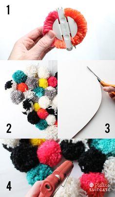 DIY Pom Pom Heart Wall Hanging