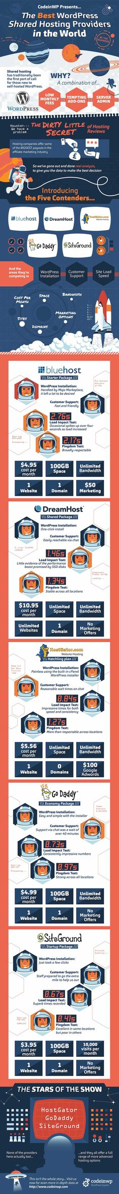 This is an infographic reviewing and comparing some of the top shared hosting providers for WordPress.