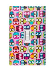 Pink Owls Light Switch Plate Cover