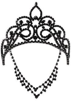 black crystal crown with forehead tiara <3