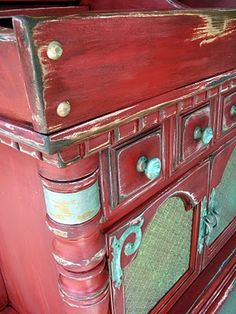 Not done with chalk paint but really neat outcome with the patina.  From Thrift Store Decor Junky