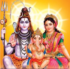 Cute Ganesha with Lord Shiva and Goddess Parvati..