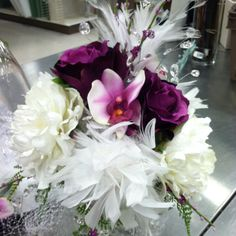 Bridal bouquet with feathers & crystals