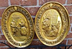 Pair of Brass Wall Plaques by ELPEC, England, large oval hammered high relief wall hanging platter plates, 1960s. $18.00, via Etsy.