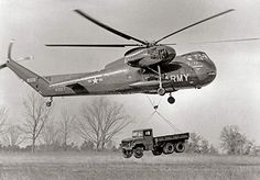 """December 18, 1953  First Flight of the Sikorsky S-56 Helicopter (HR2S-1/H-37) """"The Deuce"""" Sikorsky's first multi-engine, retractable main landing gear helicopter becomes the largest piston-engine helicopter ever built. 156 were built."""