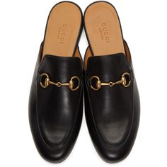 Gucci Black Princetown Slippers ($615) ❤ liked on Polyvore featuring shoes, slippers, flats and zapatos