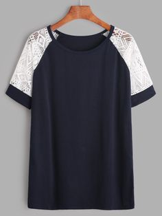 Shop Navy Contrast Lace Raglan Sleeve T-shirt online. SheIn offers Navy Contrast… Shop Navy Contrast Lace Raglan Sleeve T-shirt online. SheIn offers Navy Contrast Lace Raglan Sleeve T-shirt & more to fit your fashionable needs. Look Fashion, Fashion Clothes, Girl Fashion, Fashion Outfits, Fashion Tips, Fashion Black, Fashion Ideas, Casual Outfits, Summer Outfits