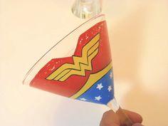 Wonder Woman Inspired Painted Martini Glass by KudosKitchenByRenee, $30.00