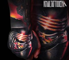 Awesome 3 colors realistic tattoo style of Kylo Ren from Star Wars movie done by artist Khail Tattooer Star Wars Quotes, Star Wars Humor, Star Wars Personajes, Star Wars Facts, Star Wars Cake, Star Wars Tattoo, World Tattoo, Star Wars Wallpaper, Tattoos Gallery