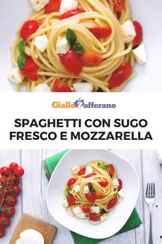 Gli SPAGHETTI CON SUGO FRESCO E MOZZARELLA sono un primo piatto semplice e genuino, che porta in tavola tutti i sapori mediterranei. Un semplice sugo di pomodorini e basilico abbraccia gli spaghetti insieme a una dadolata di mozzarella fresca! #giallozafferano #pasta #spaghetti #primipiatti #italianfood #italianrecipe #tomato #mozzarella [Italian food: spaghetti with tomato sauce and mozzarella cheese] Vegan Vegetarian, Vegetarian Recipes, Healthy Recipes, Pasta, Mozzarella, Spaghetti, Fresco, Family Meals, Italian Recipes