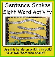 Sentence Snakes writing activity using common sight words Reading Resources, Teacher Resources, Teaching Ideas, Hands On Activities, Writing Activities, Grade 1, Second Grade, Crafts For Boys, Sight Words