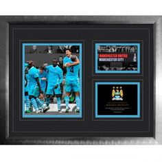 Framed picture depicting the fantastic derby win over Manchester United on October x Framed and Mounted Photographic Picture in a high end solid wood frame. Manchester City, Manchester Derby, Manchester United, Premier League Teams, Uk Football, Team Gifts, Picture Frames, The Unit, In This Moment