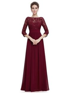 """Women's elegant 3/4 sleeve lace long evening dress.    Padded enough for """"no bra"""" option.    Elegant ruched waist design creates a universally flattering silhouette.    Sexy and unique V-neck back design.    This stunning evening dress features a figure flattering ruched satin waist and a 3/4 sleeve lace bust.    The formal floor length of the dress coupled with the classic white color makes this dress perfect for any affair;it has also been very popular with mothers of the bride and groo..."""