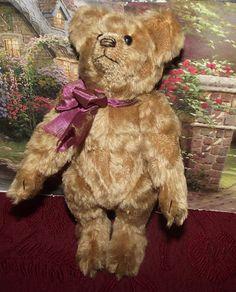 """ADORABLE ANTIQUE 9"""" MOHAIR JOINTED TEDDY BEAR W/SHOE BUTTON EYES CIRCA 1900's"""
