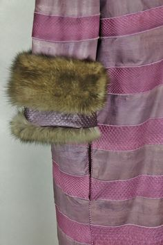 ELLIKER Reversible Sable coat hand painted with python inserts