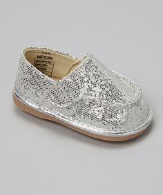 Silver Sparkle Canvas Squeaker Shoe