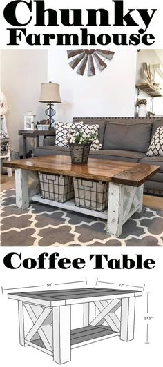Coffee Table - Chunky Farmhouse - Woodworking plans