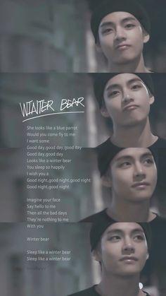 Winter bear 🍯🐻💤 💜 💚 💜 💚 💜 bts jin suga jhope rapmon jm v jk sarangabts bangtansonyeondan방탄소년단 btsforever kpop btsarmy winterbear Bts Taehyung, Bts Bangtan Boy, Namjoon, Bts Song Lyrics, Bts Lyrics Quotes, K Pop, V Bts Cute, I Love Bts, Foto Bts