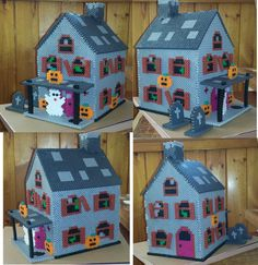 3D Perler Haunted house I adapted from a plastic canvas pattern.