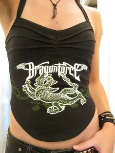 Dragonforce metal shirt tank top. DIY t shirt recon halter top. Up for auction on Ebay. http://www.etsy.com/shop/kissofdoom