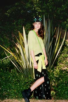 Cactus Maxi Skirt, Chomp 2.0 Hat, Miss Matched Bralette, Neon Dolman Knit, Neon Satchel, Squared Spike Bangle