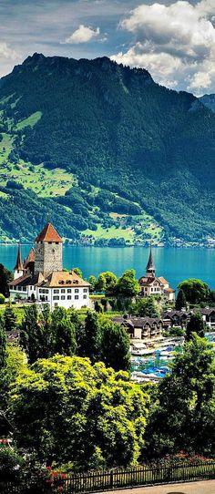 """travelandseetheworld: """"Travelling - Lake Thun, Switzerland Travel and see the world """""""