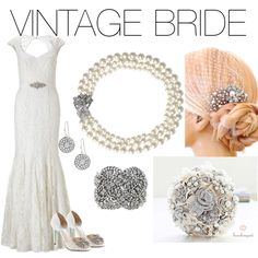 Vintage Bride with Etoile Drop Earrings, Daisy Pearl Necklace, and Petra Braided Bracelet