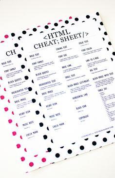 HTML CHEAT SHEET FOR BLOGGERS - http://reidunbeate.femelle.no/2015/06/08/html-cheat-sheet-for-bloggers/