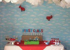 "pilot party-GREAT ideas. ""cloud"" of tissue pom poms with airplane, license picture, marshmallow plane pops, etc #aviationweddingairplanebirthdayparties"