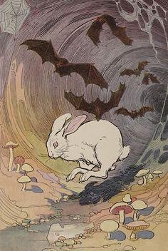 "clawmarks: ""Edwin John Prittie illustration from Bumper the white rabbit - 1922 - via Internet Archive "" Rabbit Drawing, Rabbit Art, Rabbit Head, Rabbit Illustration, Illustration Art, Building Illustration, Rabbit Tattoos, White Rabbit Tattoo, Bunny Art"