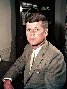 "jfk-and-jackie: """"Rare color portrait of JFK, c. Jackie Kennedy, Robert Kennedy, Greatest Presidents, American Presidents, American History, Jack Johns, Dallas, Kennedy Assassination, John Junior"