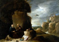 """DAVID TENIERS II  ( Anversa 1610 - Bruxelles 1690 ). SAINT PAUL THE HERMIT VISITED BY SAINT ANTHONY IN THE DESERT. 83,8 × 118 cm. Signed """" D - TENIERS. F """". A smaller variant was in the Palmerston Collection at Broadlands and is now in a private collection. Property : of a gentleman. CHRISTIE'S, London. Important Old Master Pictures. 24 / 05 / 1991. Estimate : 60,000 - 80,000  £."""