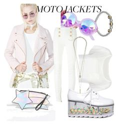 """""""moto jacket"""" by keepitrealforme ❤ liked on Polyvore featuring Daisy Street, Iron Fist and Balmain"""