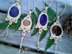 Tribal Crystal Micro Macrame Hemp Necklaces! Organic, ECO-Friendly Jewelry. Purchase them at Pineal Vision at Etsy!