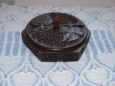 Vintage--Hand Carved--TRAMP Art--Wooden BOX--Black Forest--Grapes And Leaf Design on Etsy, $46.00