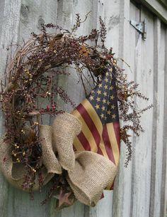 Fall Wreaths Americana Wreath Primitive Door by NewEnglandWreath Primitive Gatherings, Summer Decorating, Decorating Ideas, Craft Ideas, Fall Decor, Holiday Decor, Burlap Bows, Patriotic Decorations, Fall Wreaths