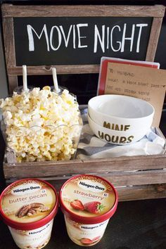 DIY Date Night Ideas - Movie Night Date Crate - Creative Ways to Go On Inexpensi., DIY Date Night Ideas - Movie Night Date Crate - Creative Ways to Go On Inexpensive Dates - Creative Ways for Couples to Spend Time Together - Cute K. Creative Date Night Ideas, Day Date Ideas, Cute Date Ideas, 31 Ideas, Date Ideas For Teens, Home Date Night Ideas, Craft Ideas, Date Night Ideas Cheap, Creative Ideas