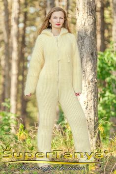 Mohair pijama bodysuit catsuit with zipper and hood by SuperTanya, made to order Mohair Yarn, Mohair Sweater, Icelandic Sweaters, Shawls And Wraps, S Models, Catsuit, Hand Knitting, Knitwear, Bodysuit