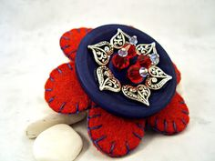 Flower Felt and Button Brooch Blue and Red by ShiShisBoutique, $19.00