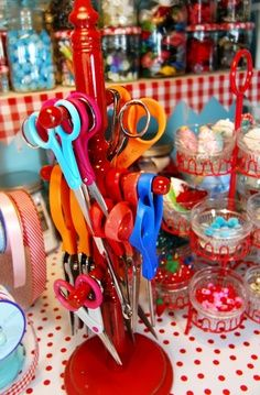 "Craft Organization - Scissor Storage with Cup Holder Stand (you could make one with wooden dowel rods, base & finials/knobs. Also noticed the ""cupcake"" stand filled with what looks like bowls of beads. Clever for corrally items for a current project! ~ Belle"