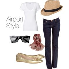 Airport Style- hat for the bad hair and sunglasses for the lack of makeup! Hah