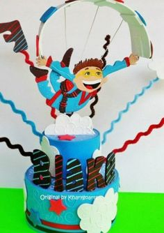 Skydiving Birthday cake topper for children skydiving party