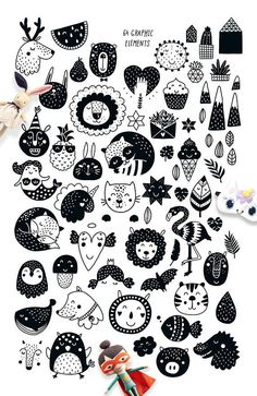Scandinavian 2 - Nursery prints - Collection of monochrome graphics and simple . - Scandinavian 2 – Nursery prints – Collection of monochrome graphics and simple phrases for kid - Doodle Art, Stoff Design, Monochrome Pattern, Clipart Black And White, Wall Art Designs, Nursery Prints, Pattern Paper, Scandinavian Style, Printable Wall Art