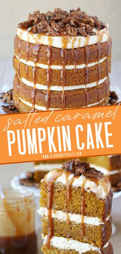 The ultimate fall dessert that will impress a crowd! This yummy Pumpkin Salted Caramel Cake starts with moist, flavorful, pumpkin cake dressed in layers of salted caramel frosting, a garnish of candied pecans, and caramel. Save this from scratch homemade sweet treat! Fall Desserts, Just Desserts, Delicious Desserts, Dessert Recipes, Easy No Bake Desserts, Cheesecake Desserts, Easy Cake Recipes, Healthy Recipes, Savory Pumpkin Recipes