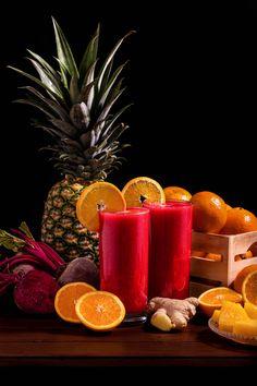 Receta de batido de remolacha, naranja, piña y jengibre fresco