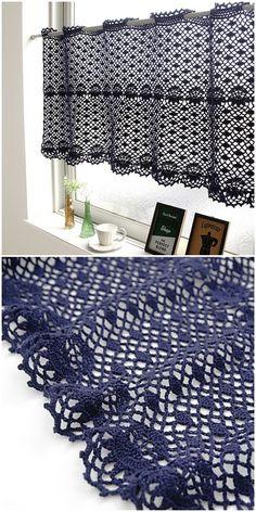 Cafe Curtain Crochet Diy Crochet Curtains, Crochet Curtain Pattern, Curtain Patterns, Filet Crochet, Crochet Motifs, Crochet Stitches Patterns, Crochet Kitchen, Crochet Home, Cafe Curtains