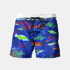 Kiss My Wrasse Fish  Swim Shorts -   Keywords: kiss my wrasse, fish artwork, marine biology designs, fish humor, wildlife gifts, animal images, moon wrasse, pink-faced wrasse, cleaning wrasse, green wrasse, reef species art, types of wrasse fish, fish gift designs,  Ichthyology, life science designs, ocean designs, aquarium fish art, aquariums, oceans, aqua, coral reef art, bait shop decor, boat art, scuba designs, boat decor, fishermen gifts, fishing decor, man cave art, man cave designs