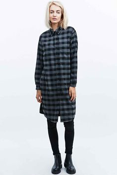 Light Before Dark Longline Plaid Shirt in Grey