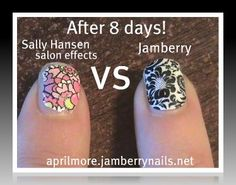 Which one do you like? Jamberry Nail Wraps are CHIP-FREE and last for 2 weeks on fingers and 6+ weeks on toes!!! Sally Hansen is like $8's or so for one time use and they CHIP!!!!